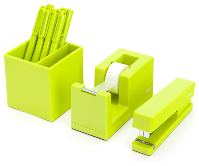 starter set lime green contemporary desk accessories