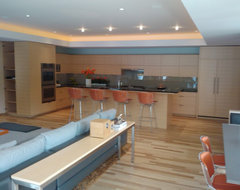 Homes by Architect Show Dining Stainless Steel Pool Table modern