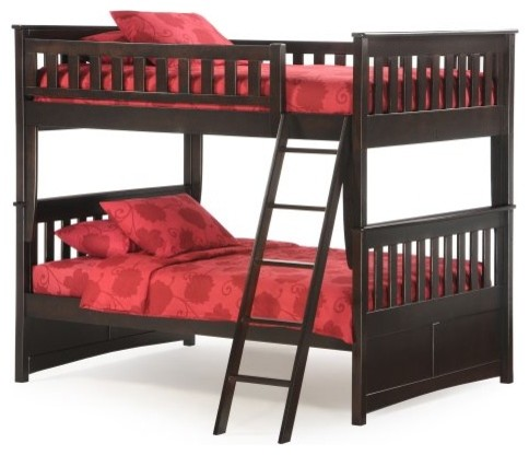Ginger Full Over Full Bunk Bed - Dark Chocolate traditional-kids-beds