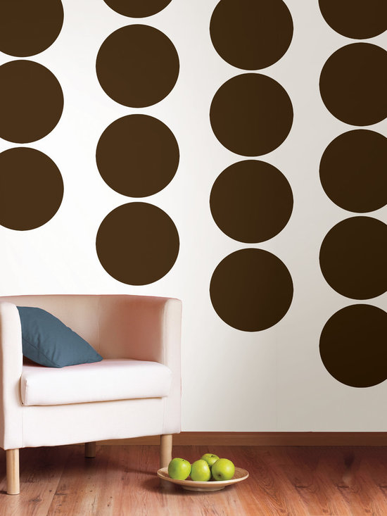 """Hot Chocolate Dots Set of Wall Decals - Super trendy, earthy and best of all, delicious! This pack comes with twenty 13"""" Hot Chocolate brown dots. All WallPops are repositionable and always removable."""