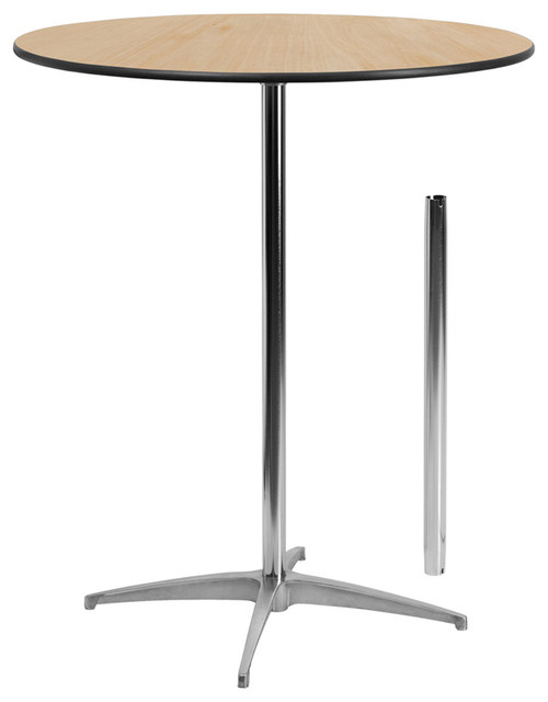 Flash Furniture 36 Inch Round Wood Cocktail Table With 30 And 42 Columns Traditional