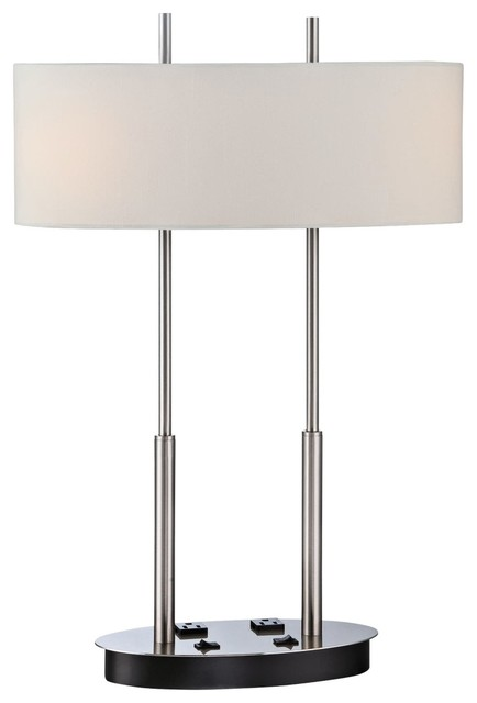 desk lamp with outlets contemporary table lamps by lamps plus. Black Bedroom Furniture Sets. Home Design Ideas