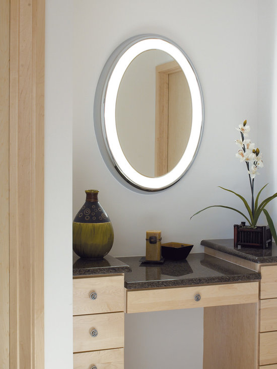 Tigris Oval Lighted Vanity Mirror - Lighted oval vanity mirror available in surface or recessed styles. Chrome or satin nickel finishes.