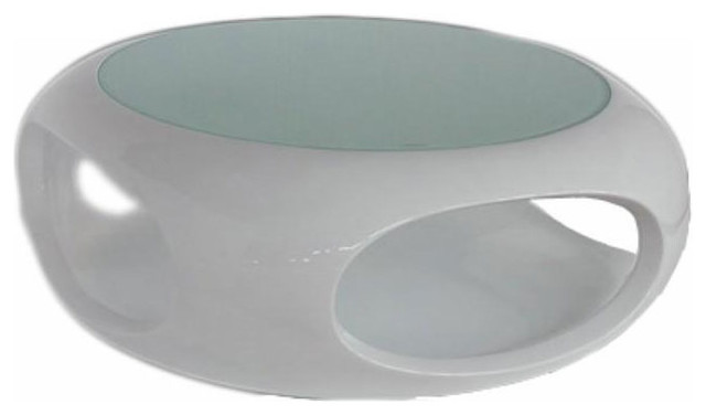 Contemporary Round Glossy White Coffee Table Dante Modern Coffee Tables Other Metro By