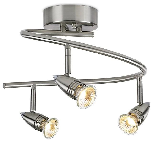 Contemporary led or halogen pro track three light spiral for Modern led track lighting