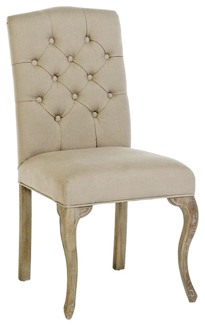 Avignon French Country Tufted Back Oak Cotton Dining Chairs Set Of 2 Farmh