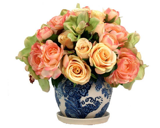 Inspired Living - Hydrangeas in Blue & White Patterned Pot - This is a beautiful arrangement with a yellow pink and green roses, ranunculuses and orchids in a blue and white patterned pot.