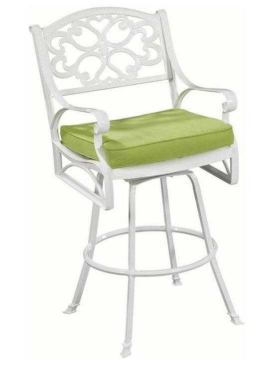 HomeStyles - Upholstered Barstool - Sunbrella green apple fabric cushions. Powder coated. Nylon glides prevent damage to surfaces caused by movement and provide stability on uneven surfaces. Seat designed specifically to prevent damage caused from pooling by allowing water to pass through freely. Stainless steel hardware. Made from cast aluminum and 100% woven polyester. UV resistant white color. Cushion: 19.68 in. W x 18.5 in. D x 1.97 in. H. Seat height: 28 in.. Arm height: 38.25 in.. Chair: 24.4 in. W x 22 in. D x 48 in. H. Warranty. Assembly instructionsCreate an intimate conversation area with home styles outdoor Stools.