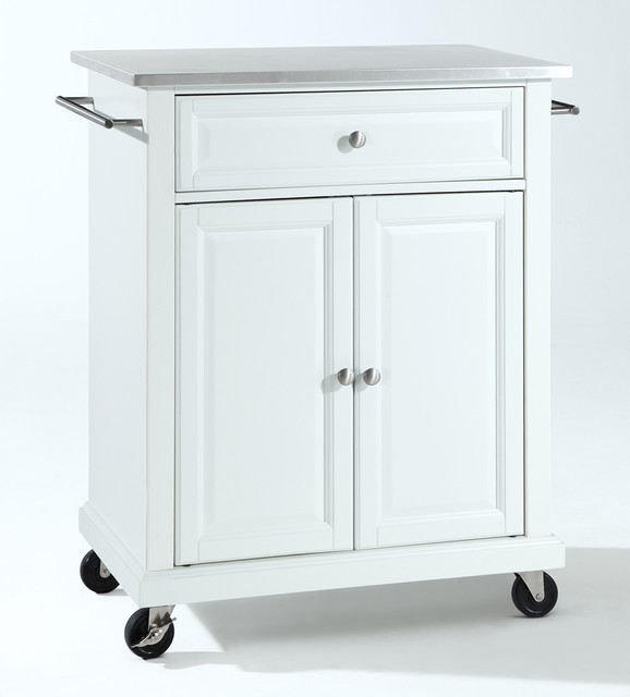 stainless steel top portable kitchen cart contemporary kitchen islands and kitchen carts. Black Bedroom Furniture Sets. Home Design Ideas