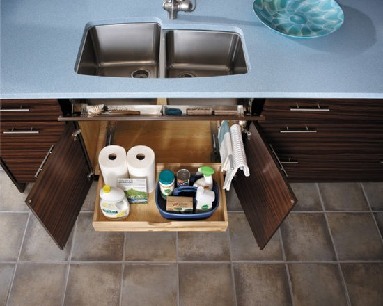 Getting Organized with Fieldstone Cabinetry - full size pull out drawer for that pesky under-sink area...no more crawling under the sink!!