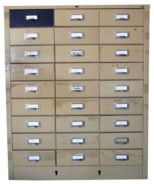 Used Vintage Industrial 27 Drawers Metal File Cabinet - Industrial - Filing Cabinets And Carts ...
