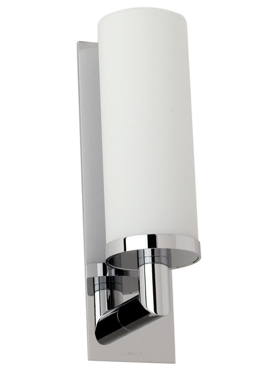 Surface Vanity Wall Sconce by Ginger - Surface vanity wall sconce features a mouth blown, satin-eteched opal glass diffuser. Finish available in polished chrome or satin nickel. Available in a two light version. One 100 watt, 120 volt, A19 lamp, not included. General light distribution. UL listed.
