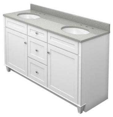 KraftMaid 60 in. Bathroom Vanity in Dove White with Natural Quartz Bathroom Vani contemporary-bathroom-vanities-and-sink-consoles