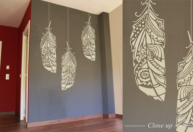 Forest feathers decorative scandinavian wall stencil for - Modern wall stencil designs ...