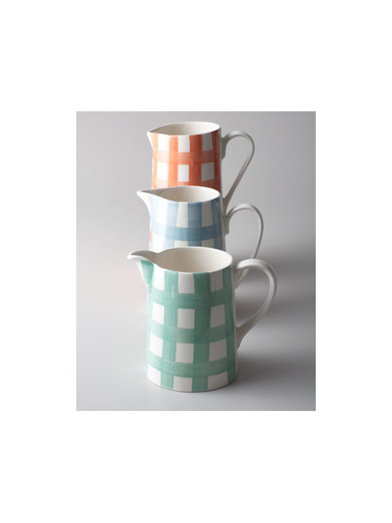 "Horchow - Three ""Gingham"" Pitchers - Casual and colorful, these gingham-print pitchers add country charm and fun color to table settings, tablescapes, countertops, and more. Made of earthenware. Dishwasher and microwave safe. Assorted set of three includes one of each color shown. Pitc..."