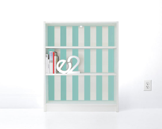 PANYL Robin's Egg Thick Stripes for IKEA BILLY - Give your bookcase a bold new look with PANYL Thick Stripes. Easy to apply and no mess!