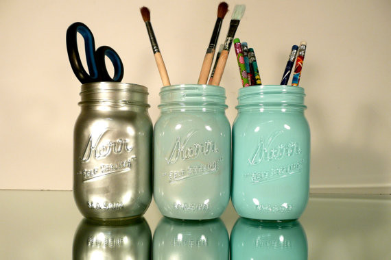 Mason Jars, Blue and Silver Ombre by Beach Blues contemporary-desk-accessories