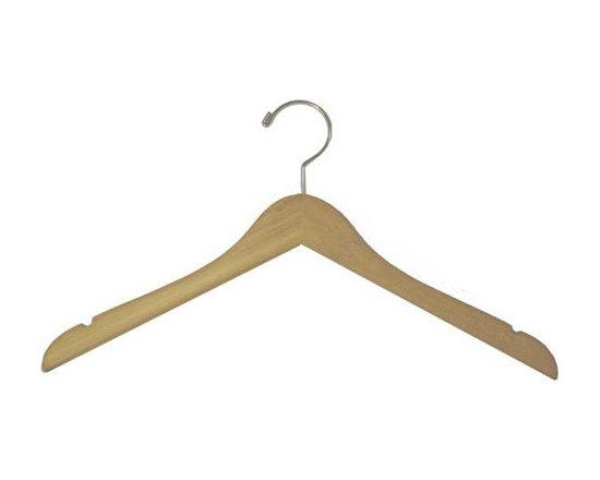 Bamboo Flat Notched Garment Hanger - Box of 100 hangers.