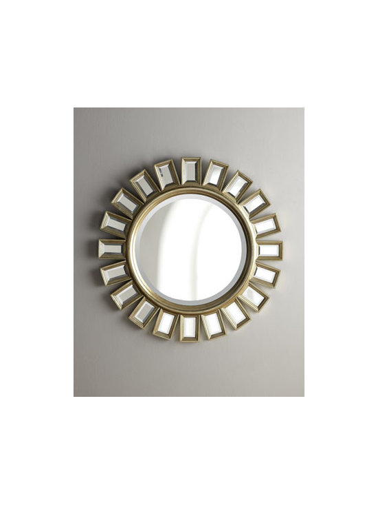 """Horchow - Cyrus Sunburst Mirror - Small beveled mirrors create the rays of this handcrafted sunburst mirror. The antiqued frame is Champagne Silver, a subtle golden color. 34""""Dia."""