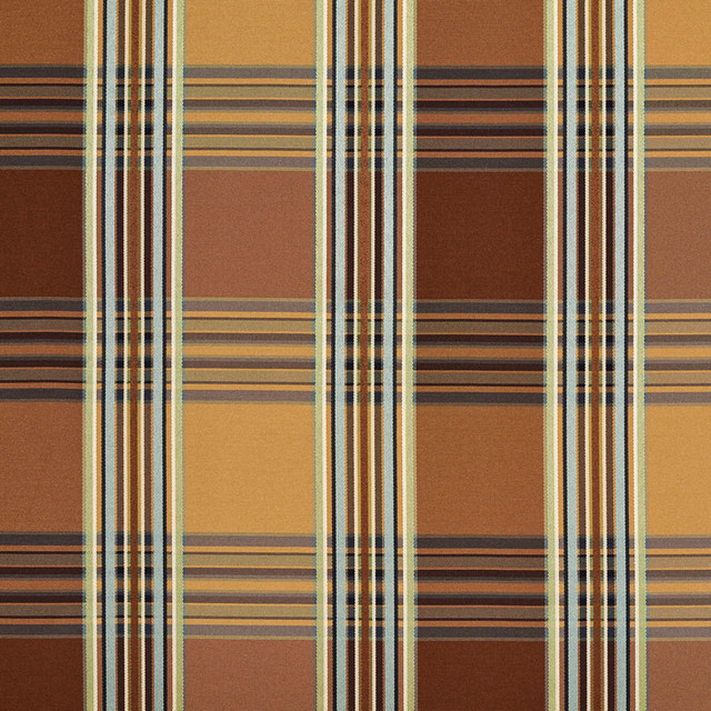 Gold Green Teal Brown Shiny Stripe Plaid Faux Silk