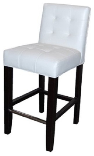 Low Back Tufted Leather Stool White 26 Quot Counter Height