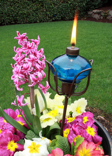 Blue Oval Oil Lantern eclectic-outdoor-lighting