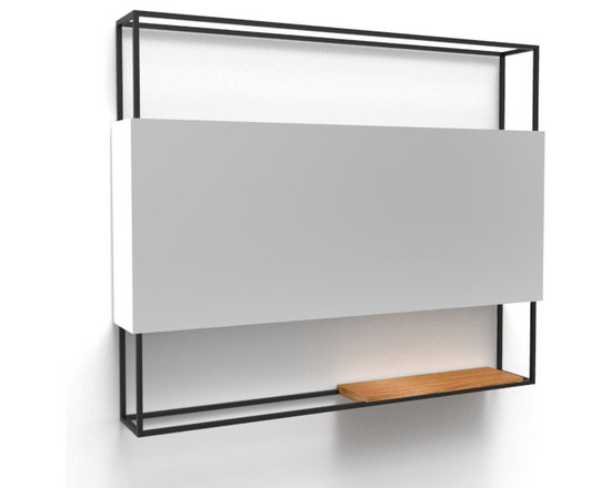Fferrone Design - Frame Mirror - 36 inch - Fferrone Design - Whether in a bedroom, bath or entryway, the Frame Mirror in its minimal form is ideally suited. The frame is made of powder coated steel and a wooden tray can be situated anywhere along the bottom edge. The Frame Mirror is available in 3 sizes, 36, 48 and 18 inch. The wooden tray is not included with the 18 inch mirror.
