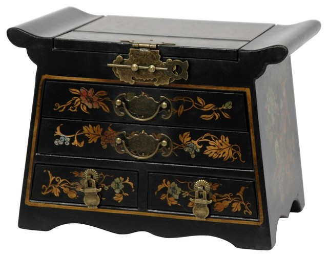 Black Lacquer Altar Mirror Jewelry Box - Traditional ...