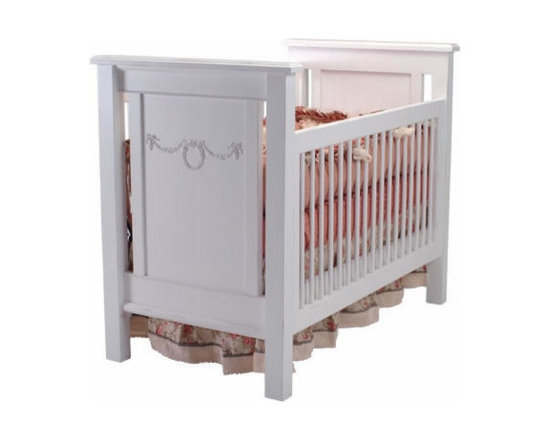 Alexis Crib with Rose Garland - The Alexis Crib is perfect for a traditional girl's nursery. This crib is viewed in white, but comes in tons of colors to coordinate with your nursery's color palette.