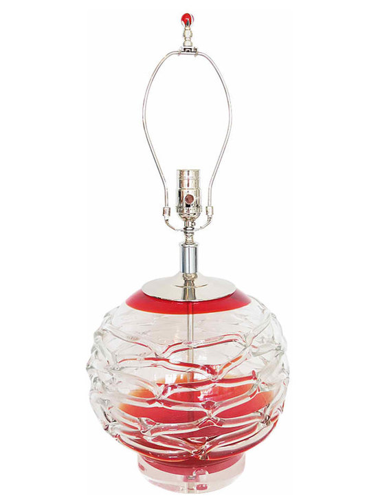 Red Clear Art Glass Lamp - Heavy Italian Art Glass Lamp in Clear and Red with Salviati-Inspired Banding. A single statement lamp. Solid nickel hardware, new socket and clear cord.
