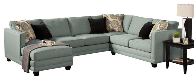 3 Piece Oasis Collection Teal Color Fabric Upholstered