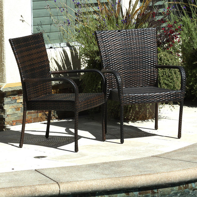 Christopher Knight Home Outdoor PE Wicker Brown Stackable Club Chairs Set of