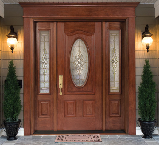 Single fiberglass door with doorlite 2 sidelites for Decorative glass for entry doors