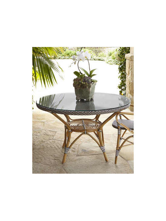 Horchow - Danielle Outdoor Dining Table - Evoking the Paris cafe culture of the 1930s, this lightweight yet strong dining table brings a distinctive Provencal flavor to outdoor entertaining. Optional glass top adds versatility. Made of the finest rattan and weather-resistant Polystrand® f...