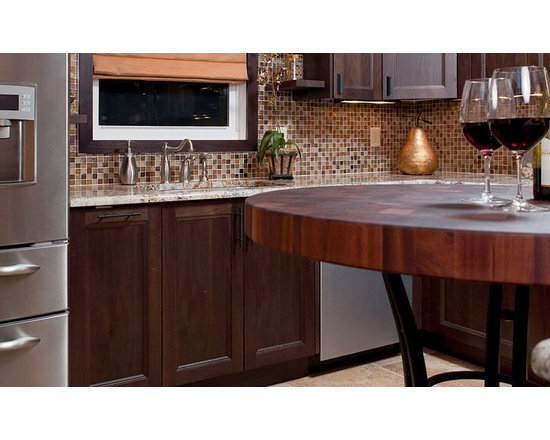 Sapele Mahogany Butcherblock Countertop Table. Designed by Cheryl Kees Clendenon -