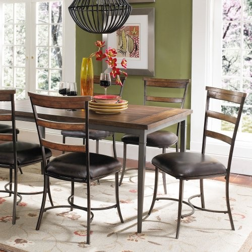 Hillsdale Cameron 7 pc. Rectangle Wood and Metal Dining Table Set with Ladder Ba contemporary-dining-tables