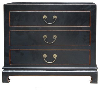 Black Color Solid Wood Claw Leg 3 Drawers Small Dresser Side Table ...