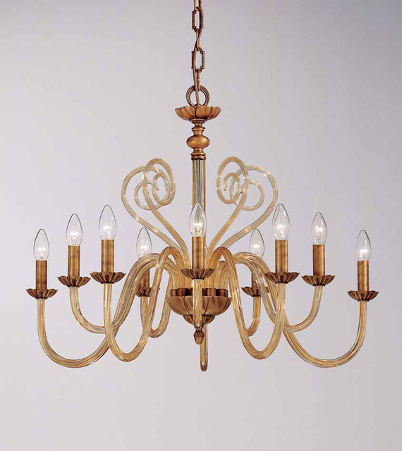 Brass antique and Venetian glass Collection OR/440 traditional-chandeliers