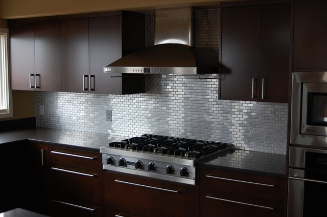 Glass tile backsplashes by subwaytileoutlet modern Kitchen backsplash ideas stainless steel