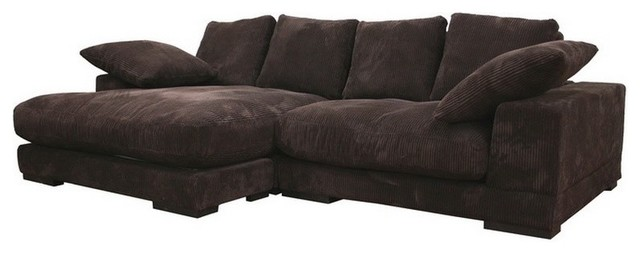 Brown velvet microfiber upholstery with reversible chaise for Brown microfiber chaise lounge