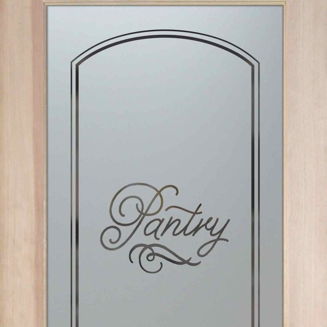 Pantry Door Melany Etched Glass Kitchen Door, 24 X 1.375 X 80 - Traditional - Pantry And Cabinet ...