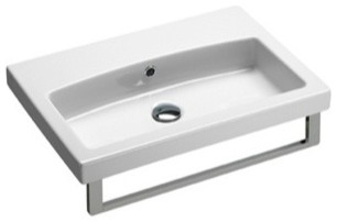 Simple White Ceramic Wall Mounted, Vessel, or Self Rimming Sink, No Faucet Holes contemporary-bathroom-sinks