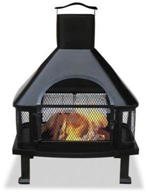 Black Firehouse With Chimney transitional-fire-pits