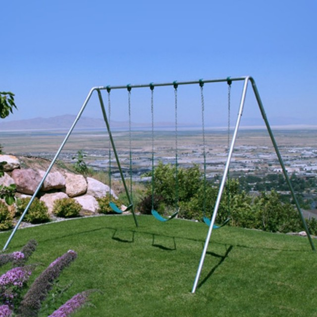 Component Playgrounds Charley Metal Swing Set - AF30-10-BLUE contemporary-outdoor-swingsets