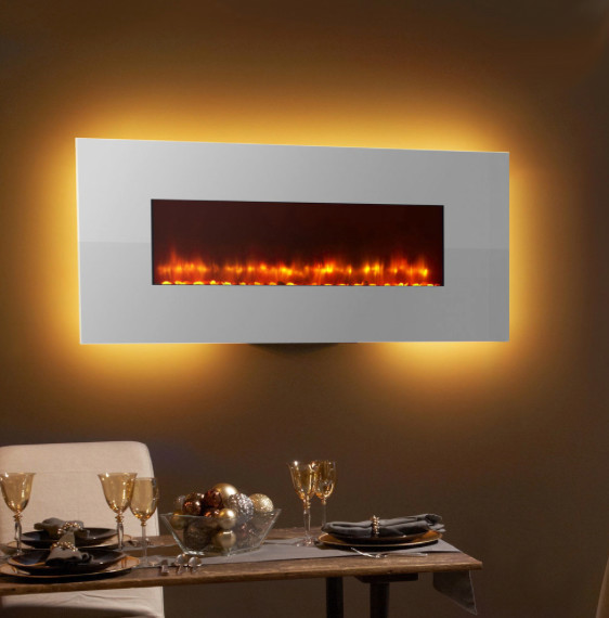 Simplifire 58 in white linear wall mount electric fireplace sf wm58 wh contemporary indoor - Contemporary wall mount fireplace ...