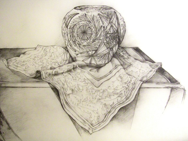 Still Life With Crystal Bowl, Original, Drawing contemporary-drawings-and-illustrations