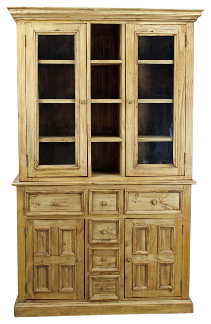 Country Pine China Cabinet and Buffet - Rustic - China Cabinets And ...
