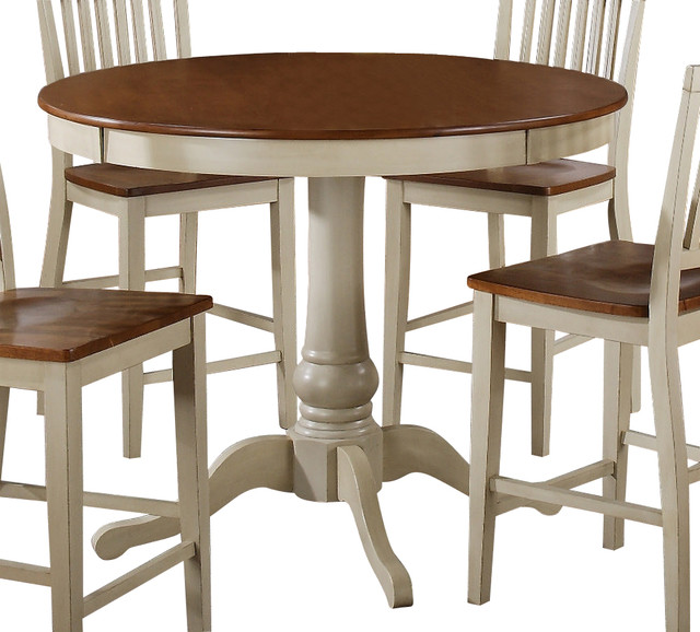 Steve Silver Candice 48 Inch Round Counter Height Table In Oak And White Fa