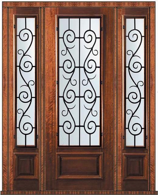 Prehung Sidelites Door 96 Wood Mahogany St. Charles 3/4 Lite eclectic-front-doors