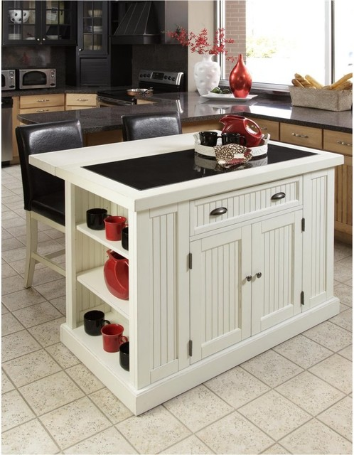 Home Styles Nantucket Kitchen Island with Two Stools - Distressed